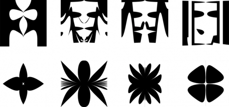 Examples of evolved images containing flowers (top row) and faces (bottom row).