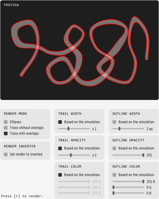 Screenshot of the rendering interface